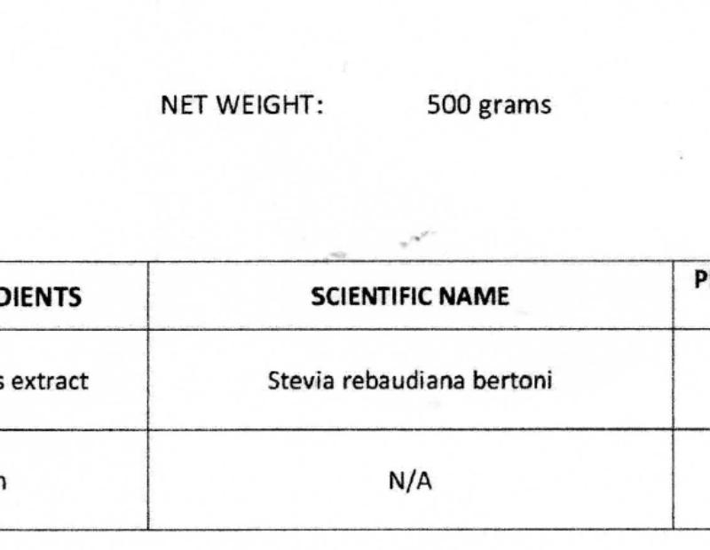 Mida tähendavad numbrid 80/20 Golden Stevia FDA sertifikaadil ja tooteinfos?