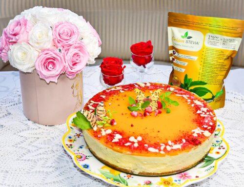 Suhkruvaba Mango Mousse Tort mandlibiskviidi põhjaga