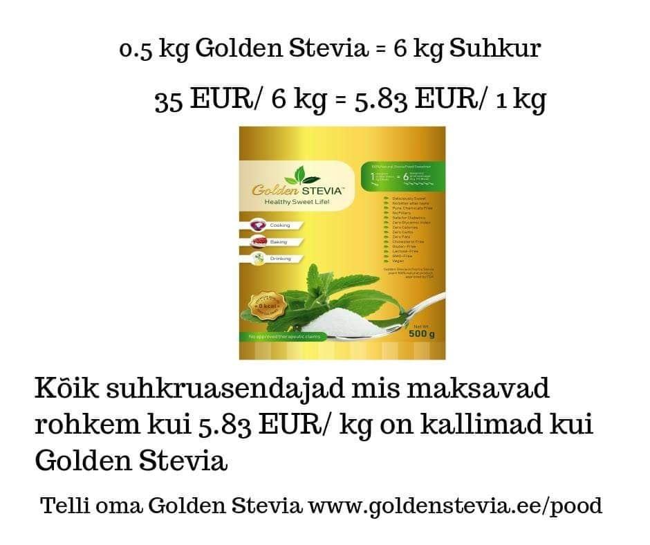 Golden Stevia suhkruasendaja on kõige soodsam ja maitsvam