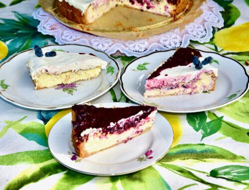 Suhkruvaba New York Cheesecake ehk Toorjuustukook Hapukoore ja Kuslapuu marjade kattega